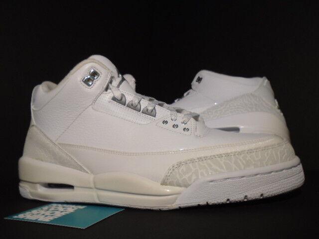 2010 Nike Air Jordan III 3 Retro PURE WHITE SILVER ANNIVERSARY CEMENT GREY OG 12