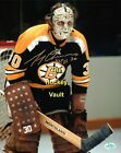 Gerry CHEEVERS Signed BRUINS Face OFF 8X10 w/ COA & HOLO 2 CUPS & HOFer SUPERB!!