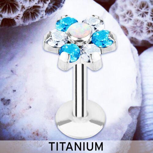TRIXIE CZ Flower Labret Bar TITANIUM Cartilage Stud Tragus Earring Piercing Ring