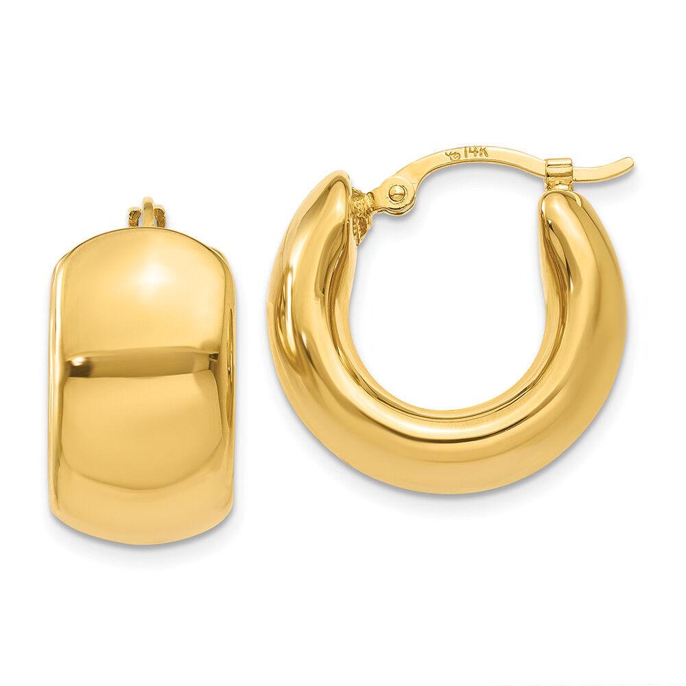 14K Yellow gold 9 MM Wide Puffed Round Hoop Earrings MSRP  674