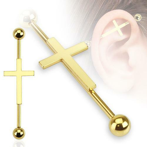 36mm 316L Surgical Steel Gold Ion Plated Cross Industrial Barbell