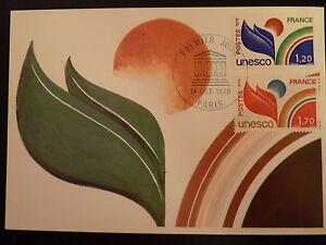 Distingué France Premier Jour Fdc Yvert 56/57 Unesco 1,70+1,20f Paris 1978 Effet éVident