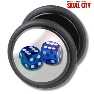 BLUE-DICES-FAKEPLUG-Fake-Piercing-Picture-Plug-Ohrstecker-Tattoo-Gambling