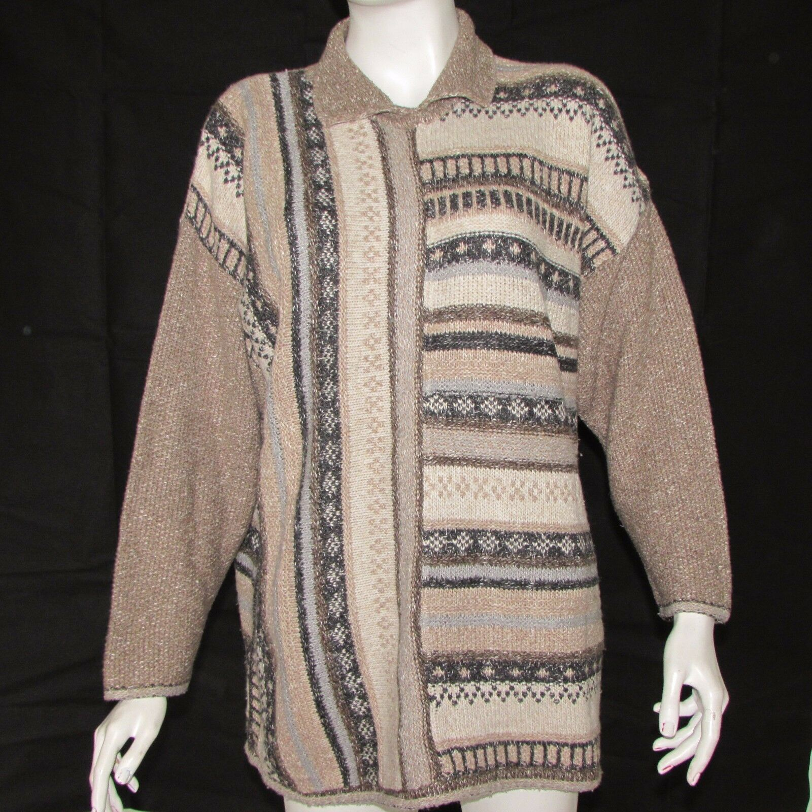 VINTAGE MONARI BY BOSCH TEXTIL SWEATER CARDIGAN SIZE L 42 LONG SLEEVE WOOL ITALY