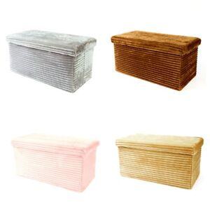 Superb Details About Large Striped Soft Faux Velvet Storage Ottoman Blanket Box Storage Solution Alphanode Cool Chair Designs And Ideas Alphanodeonline