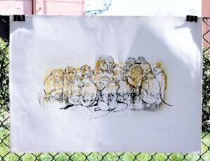 Irene-Ugolini-Zoli-Babbuini-litografia-a-colori-firmata-a-mano-1980