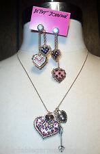 Betsey Johnson Pink Leopard Heart Crystal Arrow Valentine's Necklace Earrings