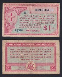 United States 1 Dólar 1947 Military Pago Certificado BB / VF C-08