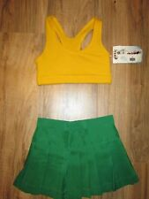 Child Cheerleader Uniform Outfit Costume Sports Bra Skirt Green Gold Youth S