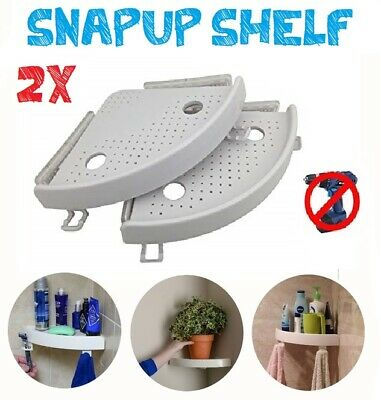 2x Quick Fix Corner Snap Shelf Grip Up To 4kg Easy Wall Bathroom As Seen On Tv Ebay