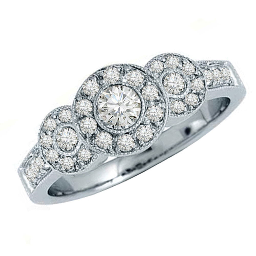 0.65 Carat 14k White gold Diamond Ladies 3 stone Bridal Engagement Ring Size 7.5