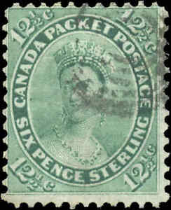 1859-Used-Canada-12-1-2c-F-Scott-18-Queen-Victoria-First-Cents-Issue-Stamp