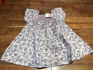 Robe-Vert-Baudet-12-mois-neuve-mauve-et-violettes-en-coton-dress