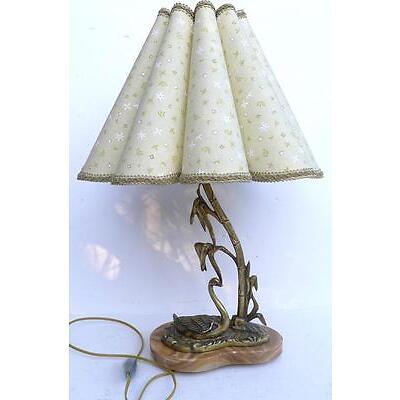 Belle LAMPE de Table Ancienne en Bronze Cygne Années 1950
