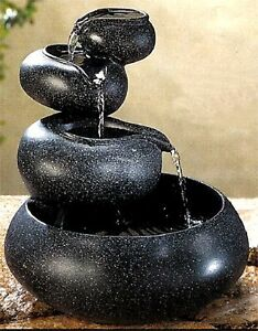 GRANITE FOUR-TIER TABLETOP FOUNTAIN ** 4 BOWLS CASCADING WATER ** NIB