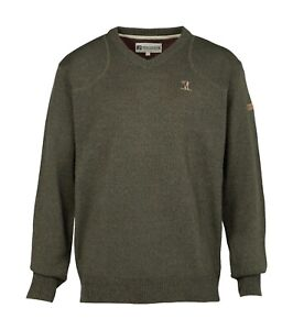 Percussion-Embroidered-man-and-dog-motif-hunting-V-neck-jumper