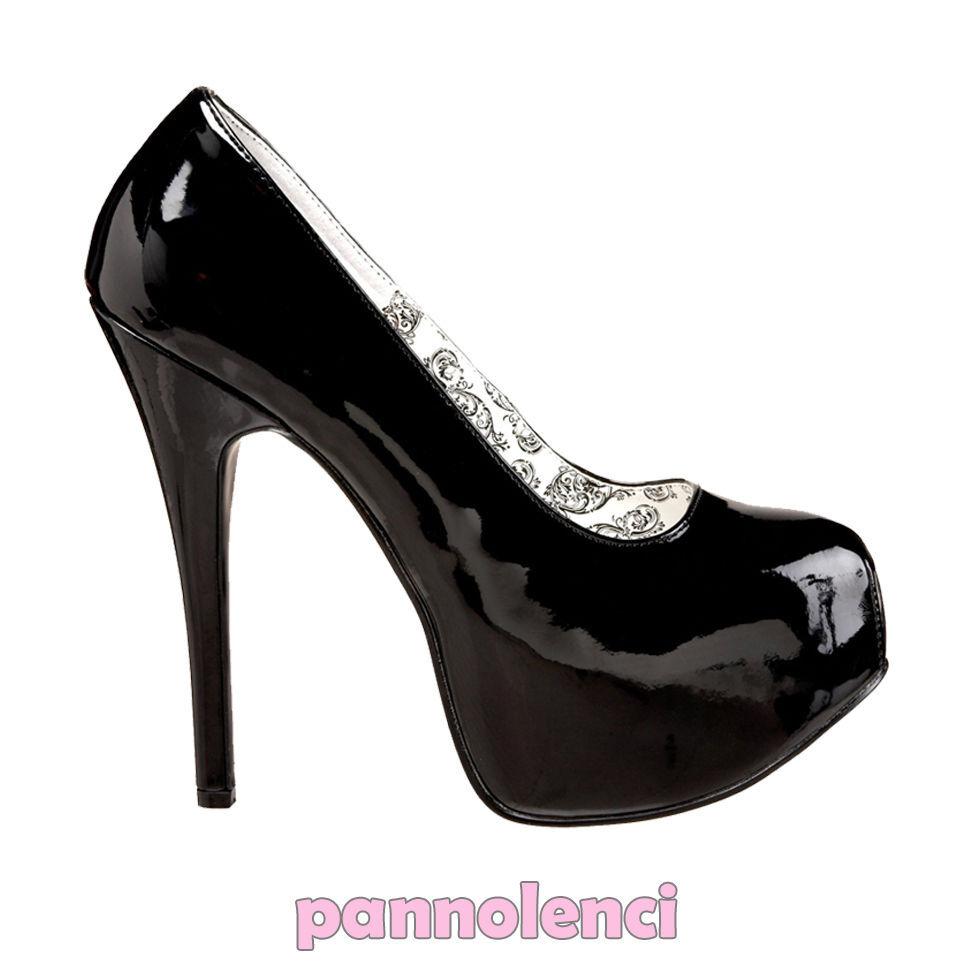 Chaussures pour femmes décolleté 37 NOIR hauts talons escarpins Burlesque PLS-07