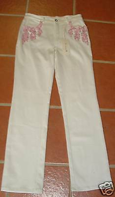 R ANDRIST WHITE STRETCH JEANS PINK BEADS 42 ITALY  529
