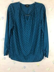 AGB-Womens-Size-L-Stretch-Blouse-Long-Sleeves-Striped
