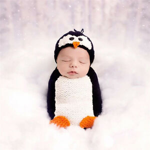 Crochet Newborn Photography Boys Knit Penguin Costume Hat Outfit Baby Photo Prop