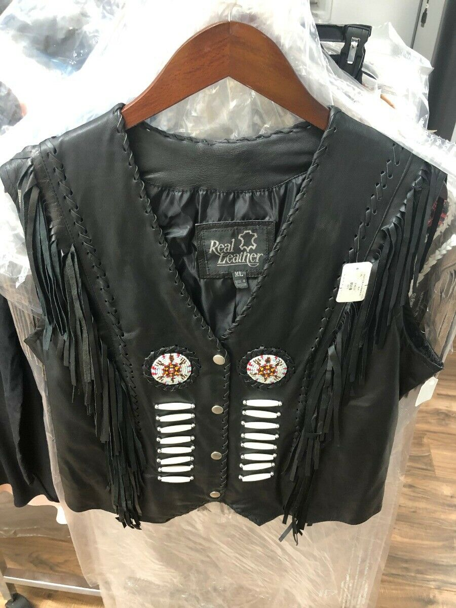 New women's ladies Lambskin Leather Vest with Embroidery Old West XL