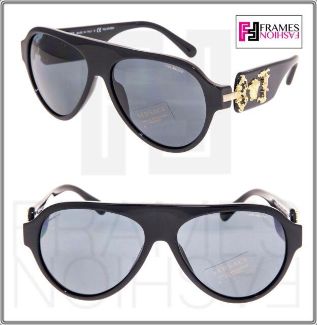 b759eaa810e5 VERSACE Rock Icon Medusa 4323 Shiny Black Gold POLARIZED VE4323 Sunglasses