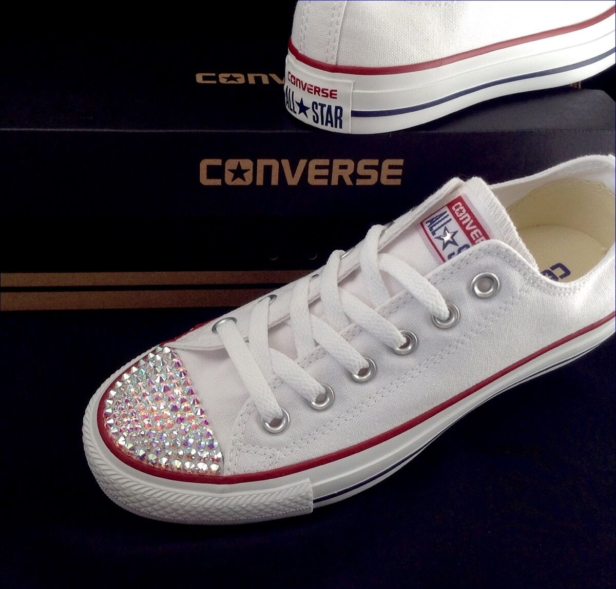 Converse Crystal Bling Chuck Taylor Low All Star Trainer White shoes w  Swarovski