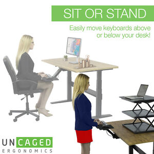 KT2 Adjustable Height Angle Standing Desk Keyboard Tray Negative Tilt Sit Stand