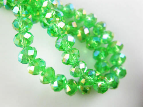 Diy Jewelry Faceted 100pcs 4*6mm Rondelle glass Crystal Beads Green AB