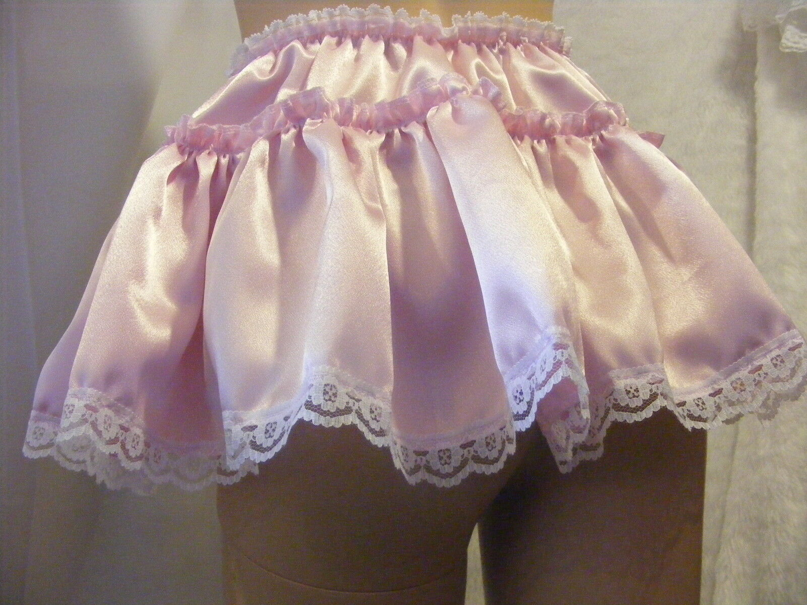 SISSY ADULT BABY SEXY FANCY DRESS PINK SATIN MICRO MINI FRILLY SKIRT 11 LONG