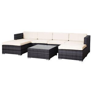 SVITA Polyrattan Lounge Lugano Rattan Set Couch Sofa Garnitur grau ...