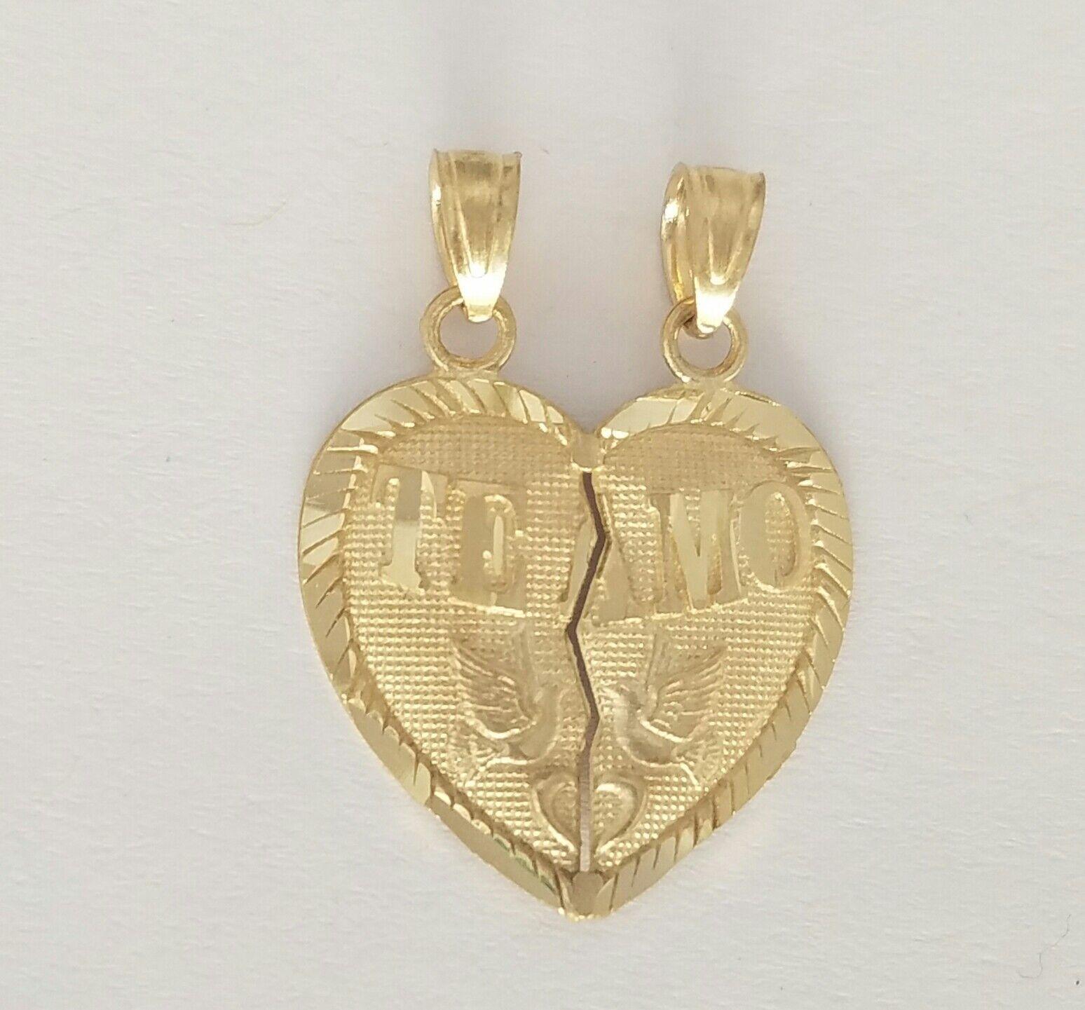 10k real solid Yellow gold 2 piece Te Amo Split Heart Pendant Charm .90  long