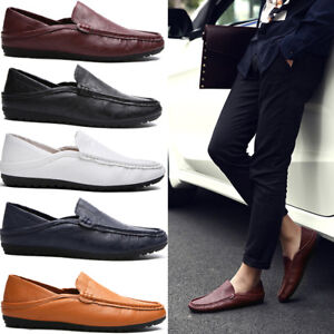 mens summer soft faux leather loafers casual slip on