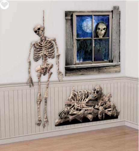 SKELETONS Scene Setter  Halloween Party 3 wall decororations BONES skulls dead