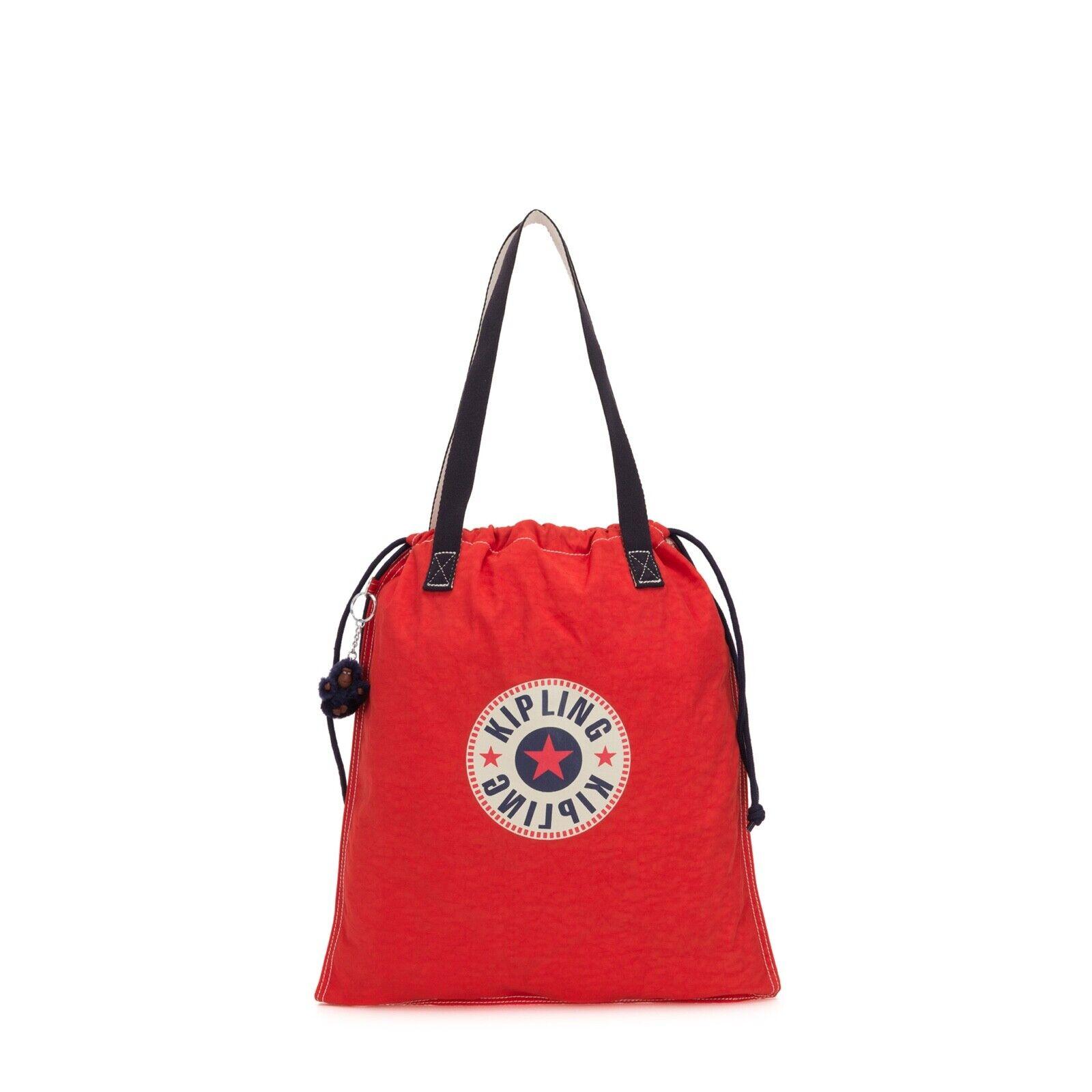 Kipling New Hip Hurray Active Red BL Foldable Tote//Shopper//Handbag BNWT