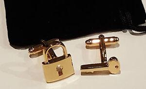 Gold-Schloss-Schluessel-Paar-Neuartige-Manschettenknoepfe-Samtbeutel