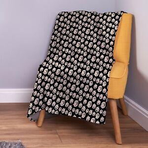 White-Pumpkins-All-Over-Halloween-Design-Soft-Fleece-Throw-Blanket