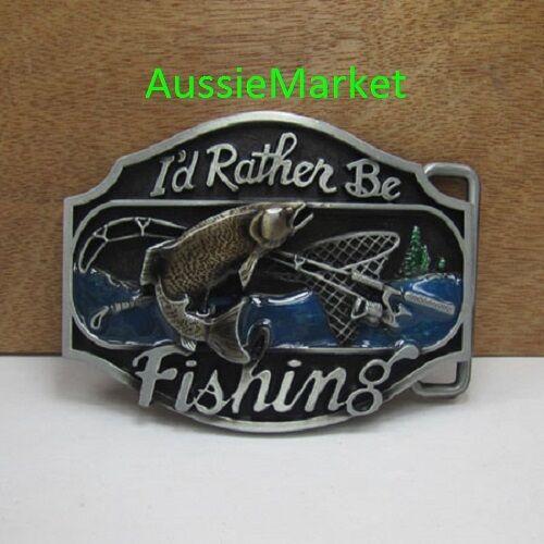 1 x mens belt buckle metal jeans fish fishing rod boat net hook fathers day new