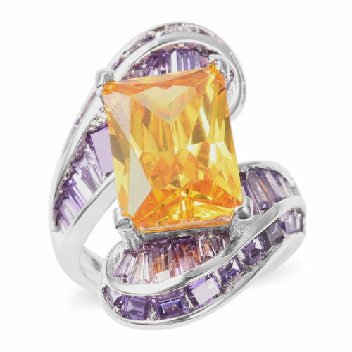 Yellow Cubic Zirconia Purple Cubic Zirconia CZ Cocktail Ring Gift Size 9 Ct 7.8