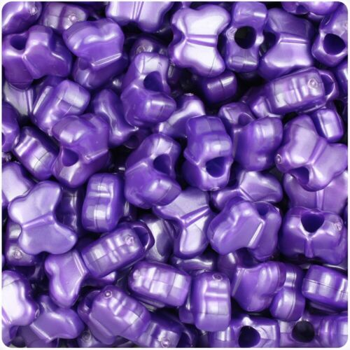50 Dark Purple Pearl Butterfly Shape 13mm Top Quality Pony Beads *NEW IN*