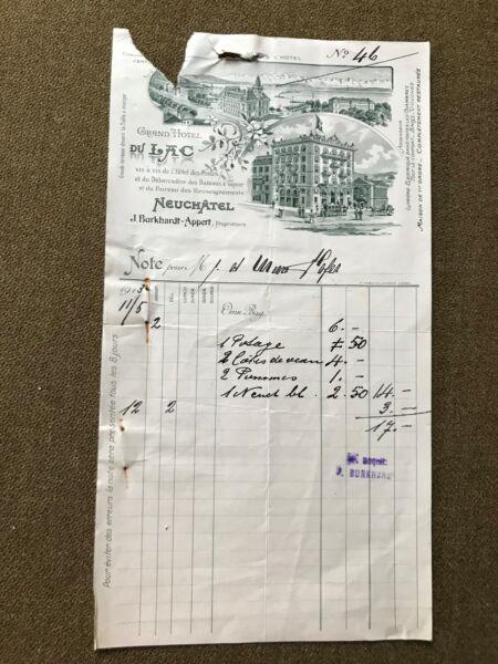 Grand Hotel Du Lac Neuchátel,j.burkhardt-appert Facture 1913,a. Trüb,lausanne üBereinstimmung In Farbe
