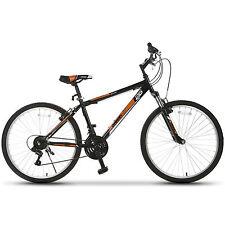 "26"" Mountain Bike 18 Speed Bicycle Shimano Hybrid School Sports Black Orange"