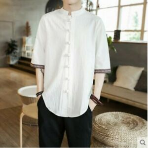 mens-casual-short-sleeve-summer-shirts-cotton-and-linen-loose-fit-Chinese-new-E4