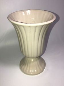 Vtg-Art-Deco-Style-Cream-White-Footed-Planter-Vase-Early-20th-Century-Pottery