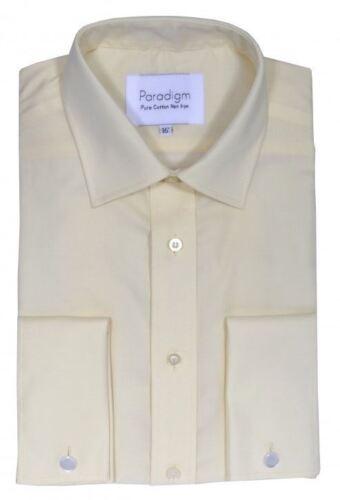 Paradigm Mens Double Cuff Pure Cotton Non Iron Formal Shirts Light Colors 8501