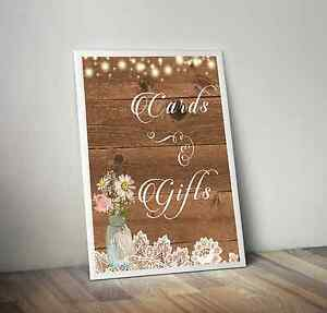 Image Is Loading Rustic Cards Amp Gifts Wedding Sign Mason Jar