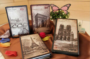 paris vintage tri fold hard cover notebook diary ruled journal