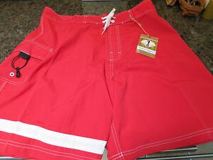 Board Shorts Men/'s Swimsuit Swim Trunks ROBERT AUGUST Red /& Black SZ 32