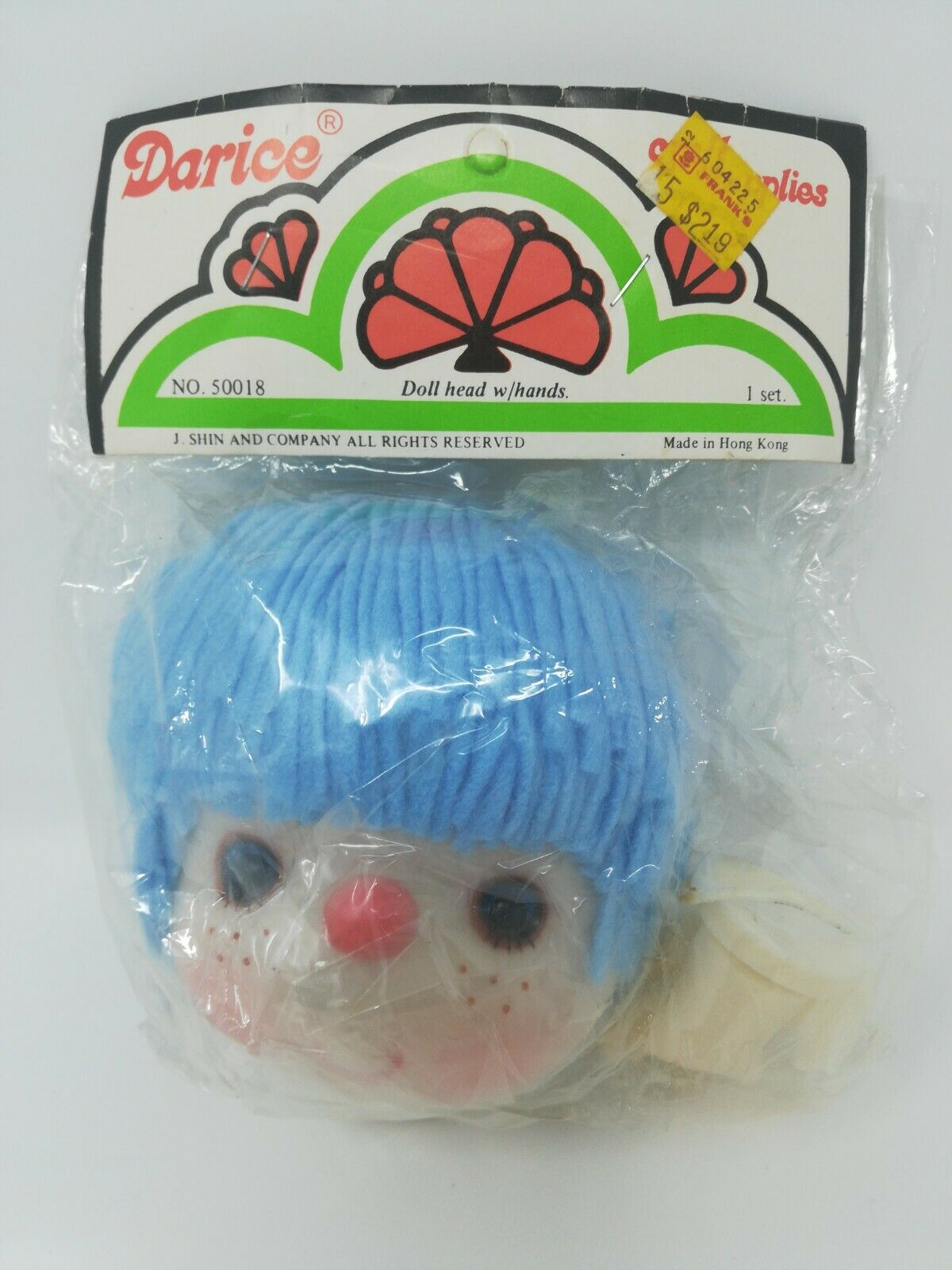 Fibre Craft Yarn Hair Doll Head and Hands Set Green Hair new in bag
