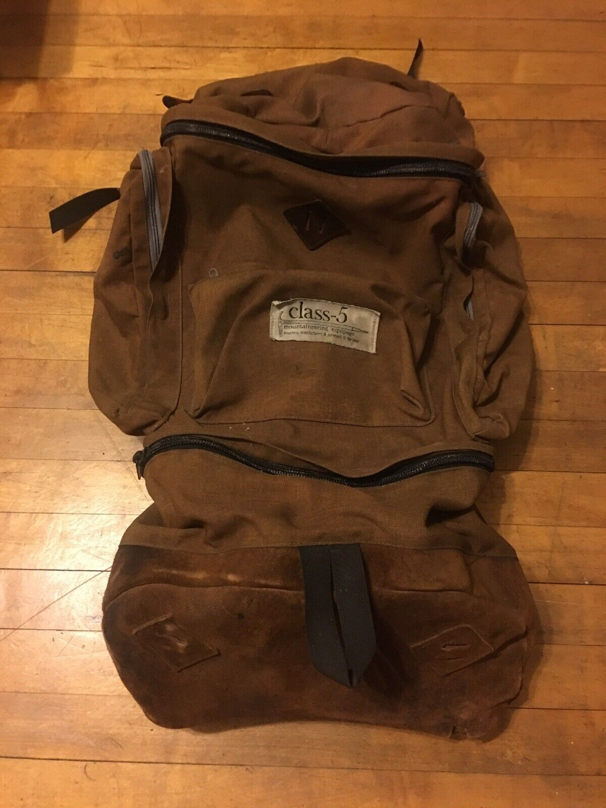Vintage CLASS-5 Large Backpack Multiday Pack Brown Leather 6 Compartment Canvas